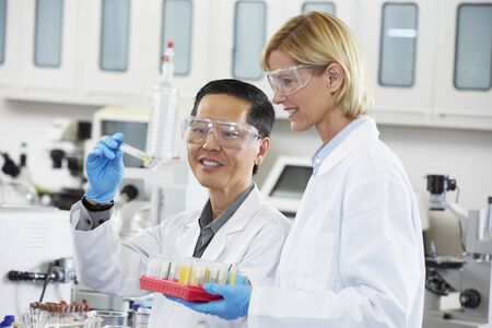 scientist woman: Male And Female Scientists Working In Laboratory
