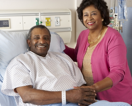 Senior Wife Visiting Husband On Ward photo