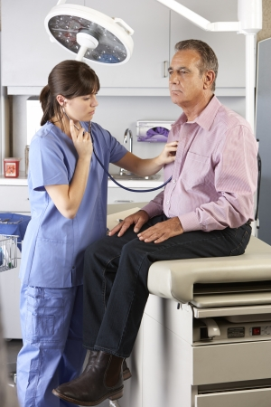 examining: Male Patient Visiting Doctors Office