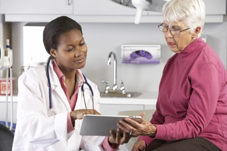 patient and doctor: Doctor Discussing Records With Senior Female Patient