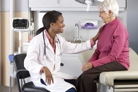 Doctor Examining Senior Female Patient photo