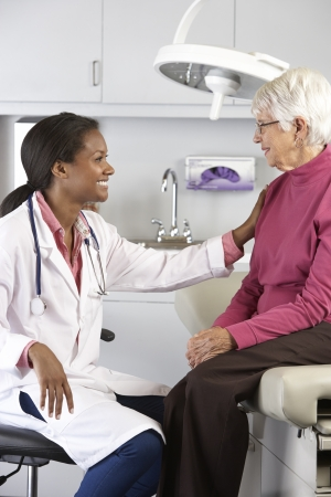 Doctor Examining Senior Female Patient photo