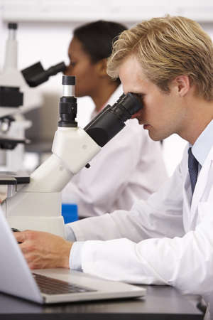 Male And Female Scientists Using Microscopes In Laboratory photo