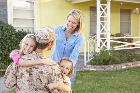 army girl: Family Welcoming Husband Home On Army Leave