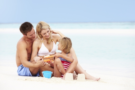 sandcastles: Family On Playing On Beautiful Beach