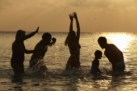 Silhouette Of Multi Generation Family Having Fun In Sea photo
