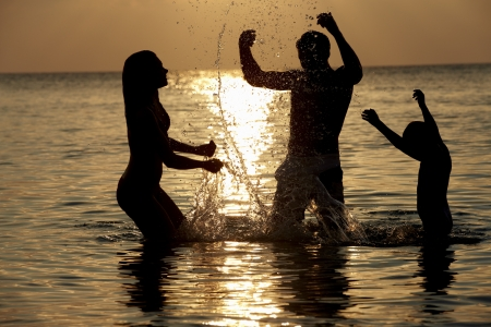 Silhouette Of Family Having Fun In Sea On Beach Holiday Stock Photo - 19531275