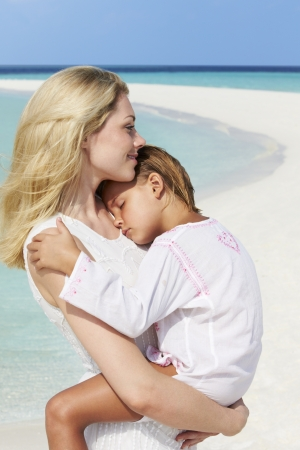 Mother And Daughter Hugging On Beautiful Beach Stock Photo - 19530531