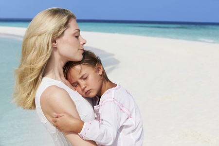 Mother And Daughter Hugging On Beautiful Beach Stock Photo - 19530426