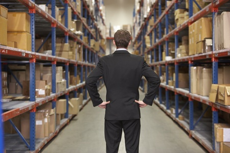 warehouse worker: Rear View Of Manager In Warehouse Stock Photo