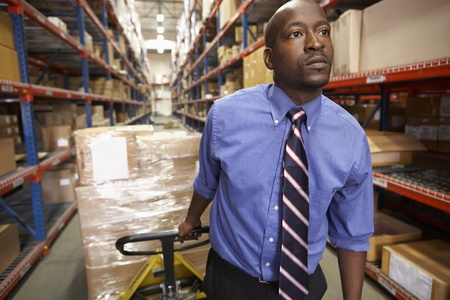 shrink wrapped: Man Pulling Pallet In Warehouse Stock Photo