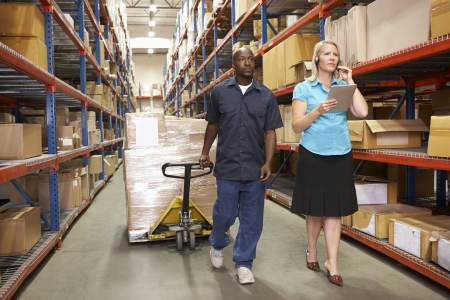 shrink wrapped: Businesswoman And Male Worker In Distribution Warehouse