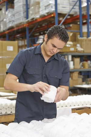 quality control: Factory Worker Checking Goods On Production Line Stock Photo