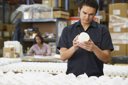 production line: Factory Worker Checking Goods On Production Line Stock Photo