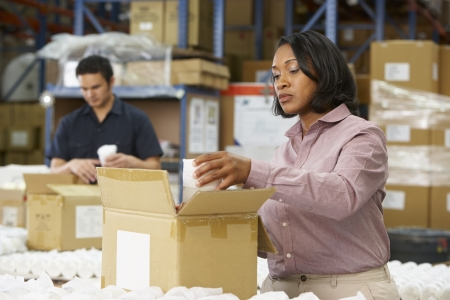warehouse worker: Manager Checking Goods On Production Line