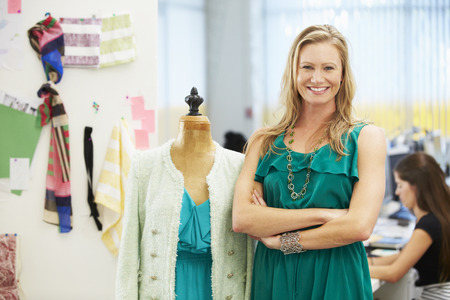 textile designer: Fashion Designer In Studio Stock Photo