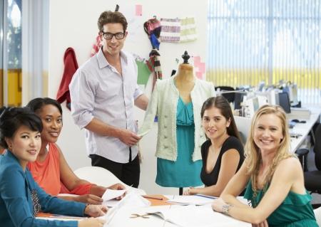 design studio: Meeting In Fashion Design Studio Stock Photo