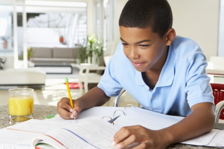 learning to read: Boy Doing Homework In Kitchen Stock Photo