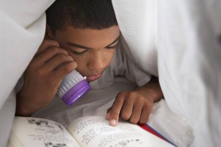 ni�os leyendo: Boy libro de lectura con la antorcha Bajo Duvet