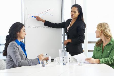 Onderneemster die presentatie Om vrouwelijke collega's Stockfoto