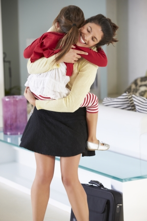 lift and carry: Daughter Greets Mother On Return From Work