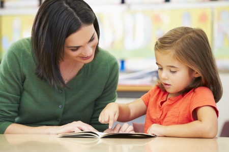 hispanic people: Elementary Pupil Reading With Teacher In Classroom