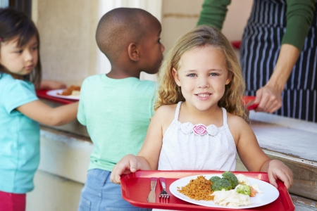 healthy lunch: Elementary Pupils Collecting Healthy Lunch In Cafeteria Stock Photo