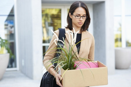 sacked: Redundant Businesswoman Leaving Office With Box