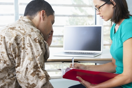 Soldier Having Counselling Session photo
