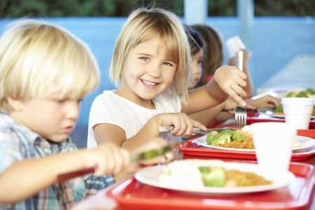 Los alumnos de primaria de disfrutar del almuerzo saludable en la cafetería Foto de archivo - 24488824