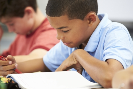 Pupils Studying At Desks In Classroom photo