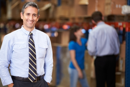 business smile: Retrato del encargado en el Almac�n Foto de archivo