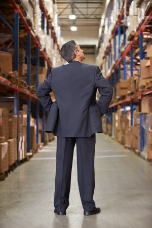 Rear View Of Manager In Warehouse photo