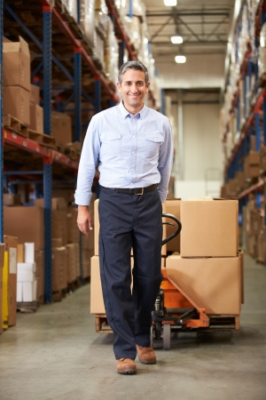 Businessman Pulling Pallet In Warehouse photo