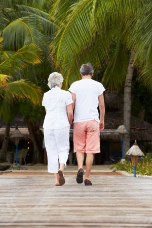 Rear View Of Senior Couple Walking On Wooden Jetty photo