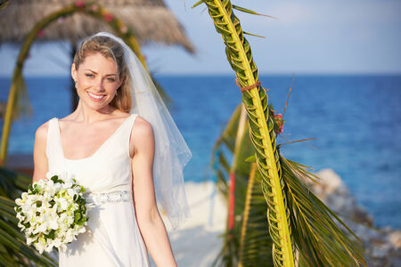getting married: Beautiful Bride Getting Married In Beach Ceremony