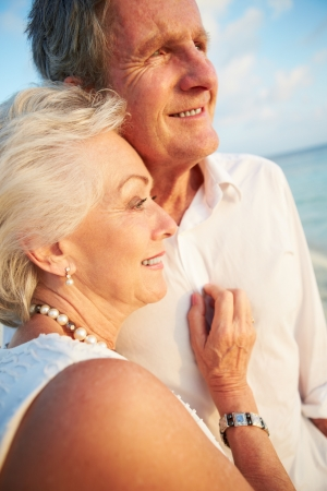 Senior Couple Getting Married In Beach Ceremony Stock Photo - 24493193