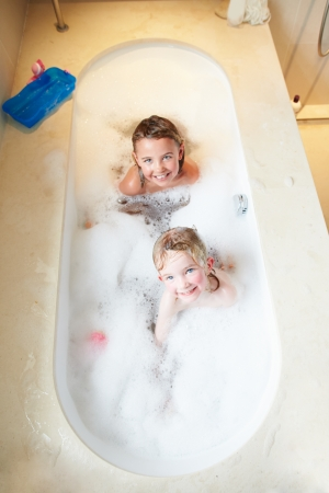 Overhead View Of Two Girls In Bath photo