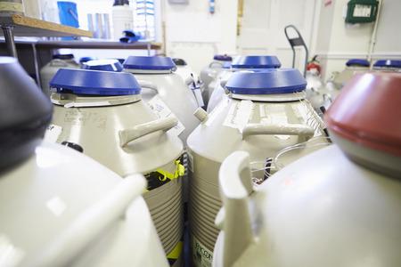 Frozen Storage At Sperm Bank Stock Photo