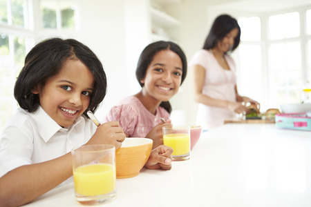 indian happy family: Mother Making School Packed Lunches For Children Stock Photo