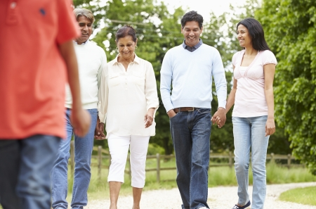 Muti-Generation Indian Family Walking In Countryside Stock Photo - 24485007