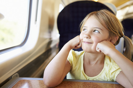people travelling: Girl Relaxing On Train Journey