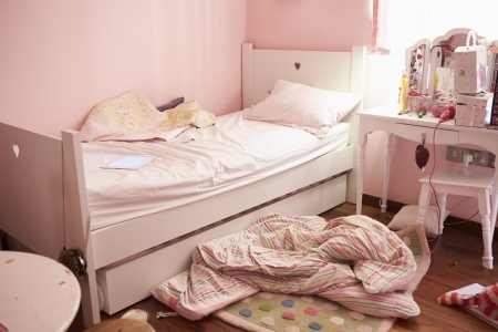 Empty And Untidy Childs Bedroom photo