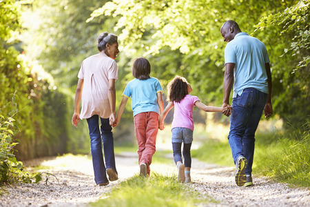 african american: Grandparents With Grandchildren Walking Through Countryside
