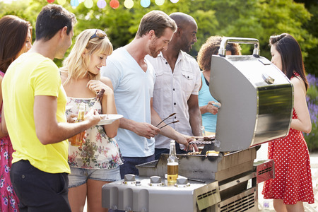 Group Of Friends Having Outdoor Barbeque At Home Stock Photo - 31012624