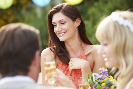 wedding guest: Female Guest At Wedding Reception
