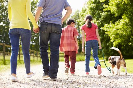 田園地帯での散歩に犬を取る家族の背面図