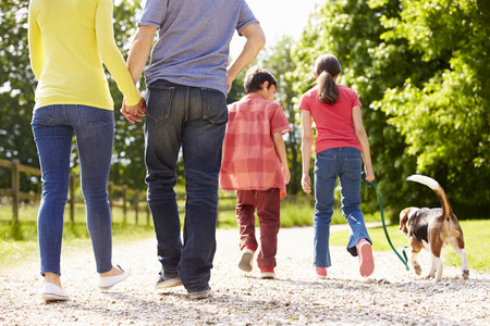 mixed: Rear View Of Family Taking Dog For Walk In Countryside