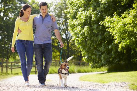 pasear: Pareja hispana toman el perro para la caminata en Campo