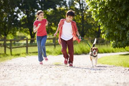 Hispanic Children Taking Dog For Walk In Countryside photo
